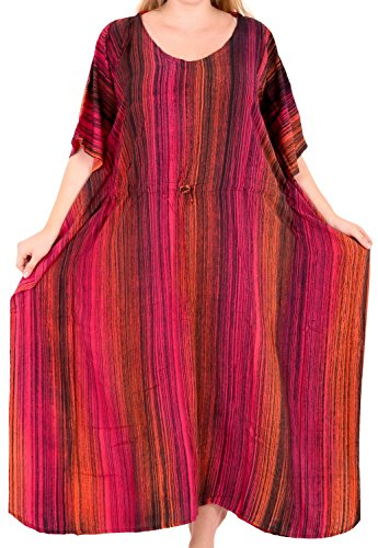 n Rayon Kaftan Tunika Tie Dye Kimono freie Größe Lange Maxi Party Kleid für Loungewear Urlaub Nachtwäsche Strand jeden Tag Kleider Rosa_L261 ()