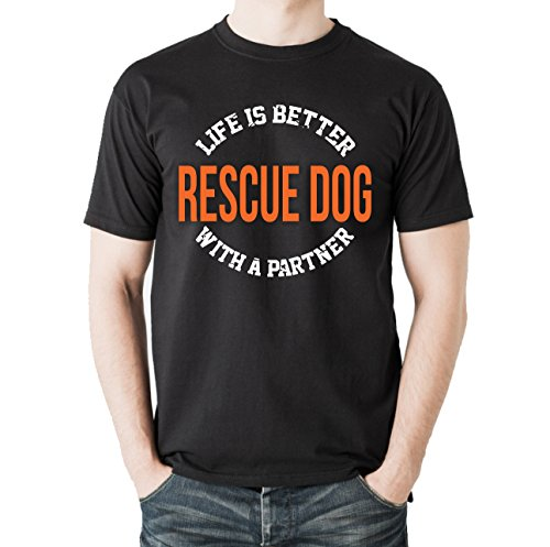 Siviwonder Unisex T-Shirt RESCUE DOG - LIFE IS BETTER PARTNER Hunde Schwarz