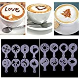 Set de 16Spray de espuma de leche capuchino Barista plantillas plantilla de molde decorar capuchinos, herramienta para Navidad Cafe Home Latte café para tartas DIY arte decoración