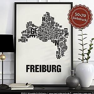 Freiburg Buchstabenort Schwarz auf Naturweiß