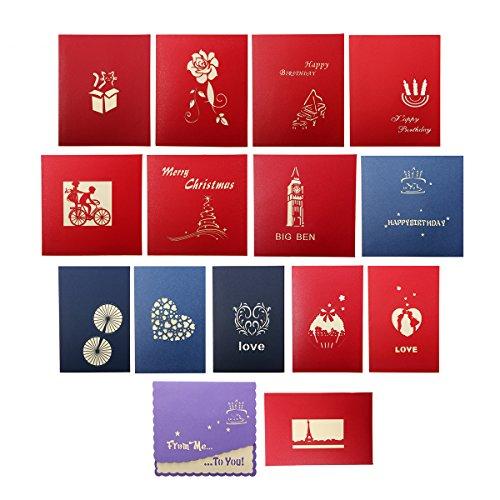 Artistore pop up 15 fogli carte augurali 3d modelli multipli cartoline di natale carte di compleanno auguri per il tuo amore biglietti di auguri creativi papercraft