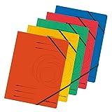 5 Herlitz Eckspanner / Gummizugmappen / aus Colorspan-Karton / DIN A4 / 5 Farben