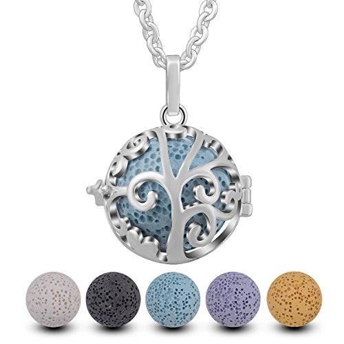 INFUSEU Aromatherapie ätherisches Öl Diffusor Damen Halskette, versilbert Lebensbaum Anhänger mit 5 Lava Rock Stone & Kette 24