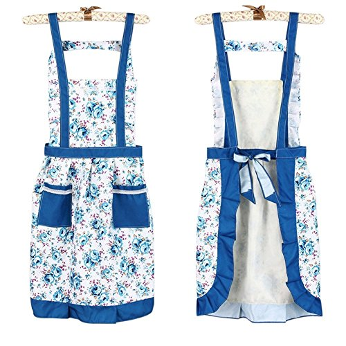 Butterme Women's Korean Princess Floral Rose Flower Garden Pastoralism Aprons Cooking Baking Kitchen Aprons with Two Pockets Great Gift For Wife Ladies (Blue)