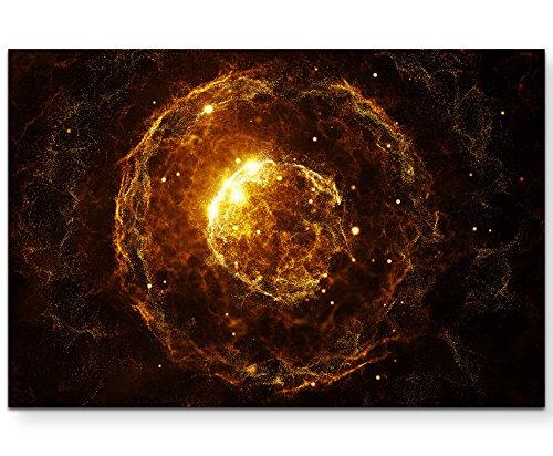 Abstraktes Bild – orangefarbene Partikel vor schwarzem Hintergrund