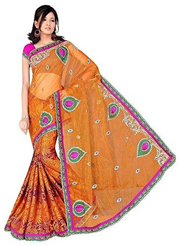 Raghavjee Sarees Women's Brasso & Net Saree (Rusty)