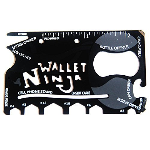Wallet Ninja 18-in-1Mehrzweckwerkzeug im Kreditkarenformat, für das Portemonnaie: Flaschenöffner, Mobiltelefonständer, Schraubendreher