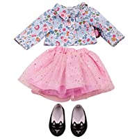 Gotz 3402676 Standing Doll Combo Glitter Flower - Size XL - Dolls Clothing / Accessory Set - Suitable For Standing Dolls Size XL (45 - 50 cm)