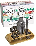 MISCEO Barman Cocktail Set Completo Professionale - 12 pezzi: Manhattan Shaker, Bamboo Stand, Ricettario eBook, Accessori, Versatore, Misurino, Spoon, Pinze - Bar, Ristoranti ed Eventi