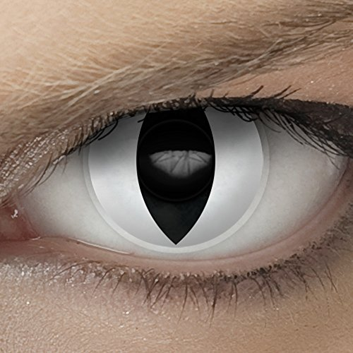 Hochwertige SFX/Spezialeffekt Kontaktlinsen für den professionellen Einsatz bei Theater, Film und Bodypainting (inkl. Pflegemittel + gratis Linsenbehälter) (Katzenauge weiß)