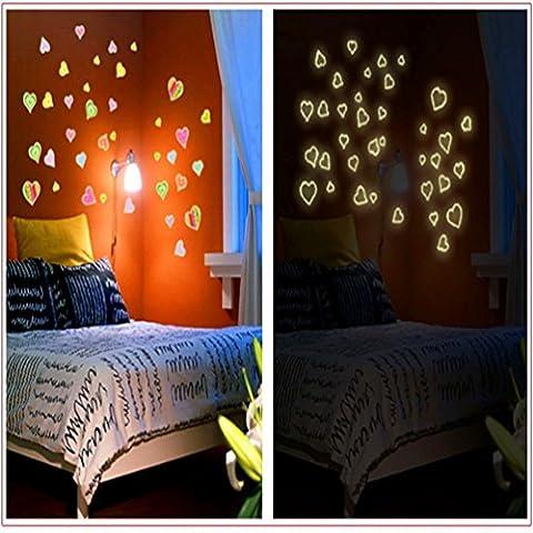 Mode Leuchtende Fluoreszierende Farbe Liebe Wandaufkleber (Abnehmbar, Wasserdicht, Grün) für Wohnzimmer Schlafzimmer Büro Wohnheim Hintergrund Dekoration,Mehrfarben