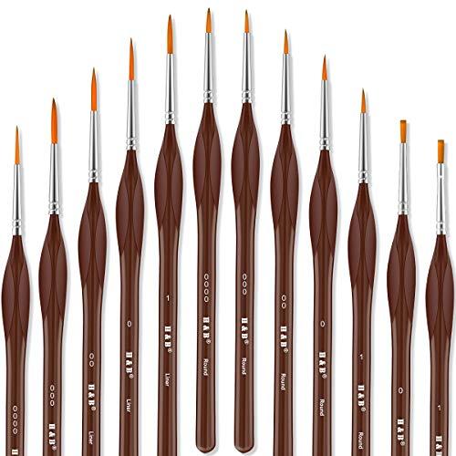 REETEE Professionelle Detail Pinsel 12 Stück Malen Pinsel mit Dreieck Griff Art Pinsel,Nylon Pinsel für Öl, Acryl,Aquarell,Modellbau,Nail Art Paint Brush Set (braun) (Acryl Paint Nail Art)