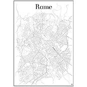 Rom Poster - Stadtplan Plakat Staßennetz (60 cm x 84 cm) Kunstdruck , Stadtkarte und Wandposter von Rom mit Vatikanstadt in Italien