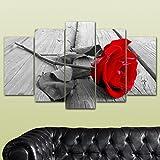 bedibuy 5 teiliges Wandbild Mdf Schwarz Weiße Rose mit rotem Kopf Wanddekoration b-4099 Bild - 5 Parca Mdf Tablo - Siyah Beyaz Kırmızı Gül