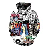 Nxddggacs Maglione 3D Horror Comics Felpe con Cappuccio Clown malvagi 3D Felpa Divertente Manga Top Punk Holiday Top Donna/Uomo Sportwear Classico Harajuku