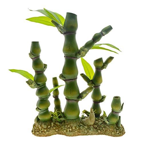 Saim Aquarium Kunststoff Künstliche Bambus Pflanzen Decor für Aquarium Fisch Tank Bonsai Ornament Grün, L, 1Stück -
