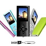 Btopllc ricaricabile portatile lossless Music video Player, 16GB, lettore MP3/MP4, auricolari e cavo USB (nero)