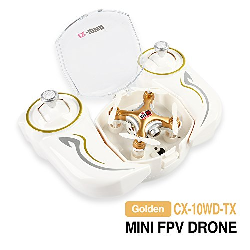 Cheerson CX-10WD-TX 2.4G 4CH Mini Wifi FPV High Hold Mode 0.3MP Kamera Handy Steuerung RC Quadcopter, Farbig LED Leuchts, Eine Taste Abheben/Landung, Luftdrucksensor Gold