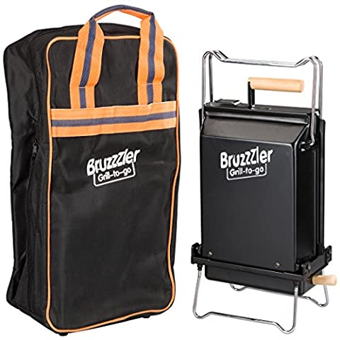 Bruzzler Folding Grill with Heat-Resistant Carry Bag – Compact Grill – Self-Extinguishing and