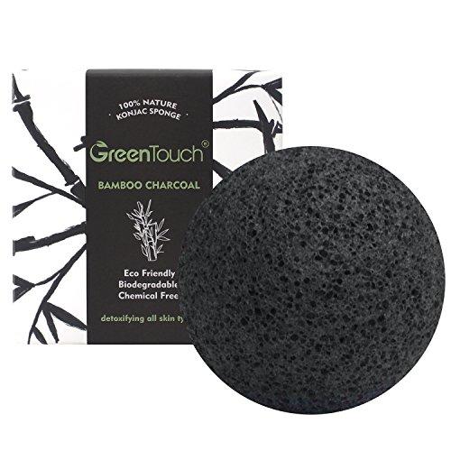Konjac Aktivkohle (GrünTouch Rein Natürliche Konjac-Gesichtsschwamm mit Bambus-Aktivkohle| Entölung&Peeling| Herzförmige Tiefenreinigung|Pflanzenfaser 100% Bioabbaubar|Schwarz)