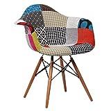 Lo+DeModa Super Studio - Armi in legno di colore Patchwork Sedia (Confezione da 2 sedie)