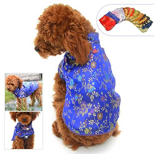 lovelonglong 2019 Hundekostüme Cheongsam Qipao Kleider für kleine Hunde Katzen Haustiere Zange Dynastie Kostüm, S-XXS, blau