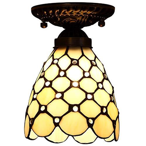 XYQS Tiffany Stil Europäischen Retro Farbe Glas Licht Deckenleuchte Warmes Licht Geeignet für Wohnzimmer Schlafzimmer Restaurant Bar Gang Korridor Badezimmer Coffee Shop (watt : 110V)
