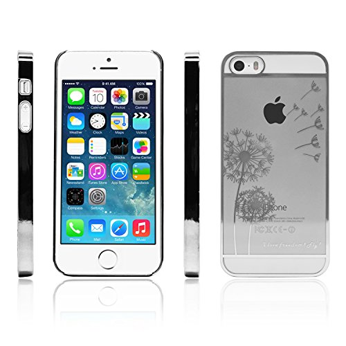 iprotect Schutzhülle Apple iPhone 5, 5s, SE Hülle Pusteblume Freedom - Flower Edition in Silber