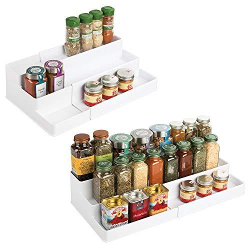 Mdesign set da 2 portaspezie per armadio della cucina - contenitore spezie allungabile - organizer cucina su 3 ripiani per sale, pepe, curry e molto altro - plastica robusta - colore: bianco