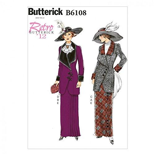 Butterick Schnittmuster 6108–Retro Style Jacke, Lätzchen & Rock (Fitted Semi Jacke)
