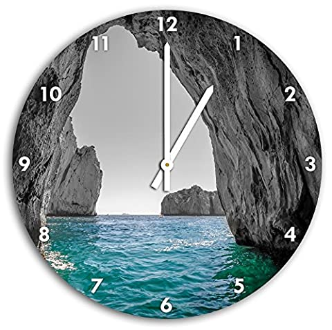 baie Rocky dans la mer noir blanc, diamètre 30cm / horloge murale avec du blanc en tête les mains et le visage, objets décoratifs, Designuhr, aluminium composite très agréable pour le salon, étude