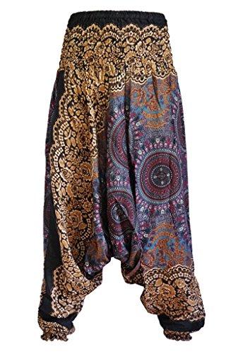 Gesmokte Damen-Pluderhose mit Aladin-Muster von Yaowaluck, 2-in-1 Pluderhose und Overall Drak Blue