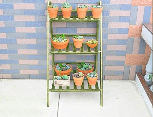 JAZS® Rayons de fleurs de jardin, Fer Plusieurs couches de sol Salon de salon Balcon étagère simple à fleurs Porte-pot à fleurs 50 × 40 × 93 cm protection de l'environnement raffinée ( Couleur : Bronze vert , taille : 50*40*93cm )