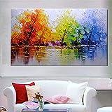 TTKX@ Handgemaltes Baum Landschaft Ölgemälde auf Leinwand Handgemachtes Abstraktes Messer Landschaft Gemälde Moderne HauseWandkunst Bilder,60X90Cm