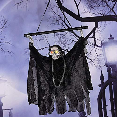 Halloween Skelett Hänge Deko, Hängedekoration, Halloween Horror Requisiten mit Leuchtendes Skelett, Batteriebetrieben, Totenkopf Gruselige für KTV Bar Haunted House (Schwarz) by Futurepast
