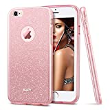 ESR Coque pour iPhone 6s/6, Coque Silicone Paillette Strass Brillante Glitter de, Bumper Housse Etui de Protection [Anti Choc] pour Apple iPhone 6/6s (Rose Pailleté)