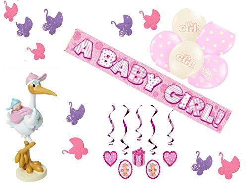Partydekoset Babyparty Mädchen rosa 14teilig Pullerparty Baby Geburt