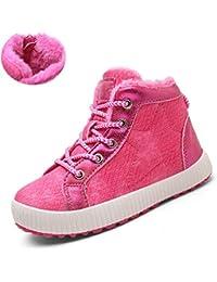 Altos niños de Invierno Zapatillas de Deporte Superiores Niñas Calientes Zapatos de Deporte al Aire Libre Caliente Niños Negro Felpa Calzado Informal Niños Botas de Nieve