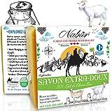Nabür - Savon lait de chèvre Frais BIO 20% | Saponifié à froid | Artisanal, Masque Extra-doux, Surgras | Visage, Corps