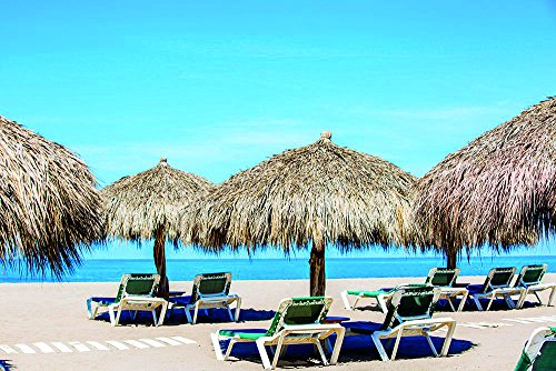 """Photos.com by Getty Images Lounge Chairs And Thatch Umbrellas On Tropical Beach Poster Print, 17"""" X 11"""""""
