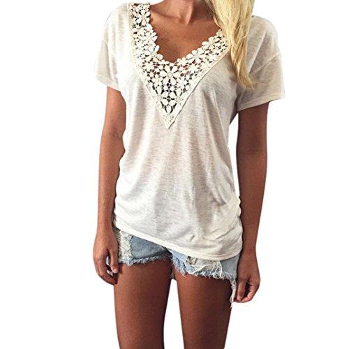Amlaiworld Frauen Sommer Weste Spitze Kurzarm Bluse Lässige Tank Tops T Shirt Spitze Weiß