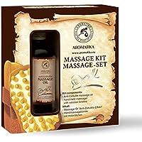 Aceite de masaje 100ml con Anti Celulitis Masajeador - 100% aceites natural Jojoba - Almendra - Núcleo de Durazno y Aceites Esenciales Limón - Lavanda - Geranio - Set de Masaje para Cuidado Corporal