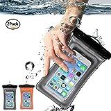 2pack Pochette étanche, avec une fonction de détection de la pénétration d'eau et flotter dans l'eau, Pochette téléphone étanche/Sac étanche protection contre la submersion, pochette iPhone 7 iPhone SE, iPhone 6/ 6s/6 Plus, Sony, HTC, Huawei, Wiko et d'autres téléphone d'inférieure à 6'