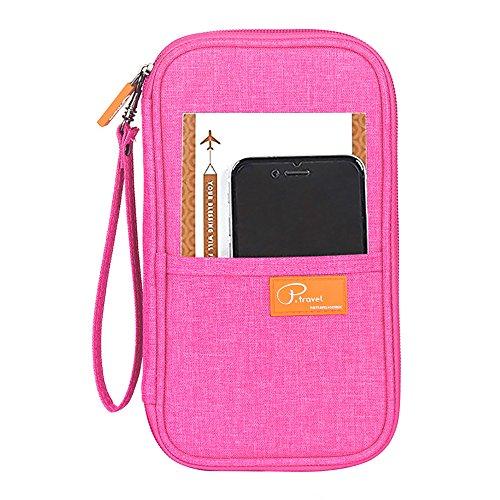 pensenion Travel Passport Wallet Fall, Passport RFID-Blocker, wasserdicht, mit Reißverschluss für Herren Frauen Familie, PENJE1100-PK, rose