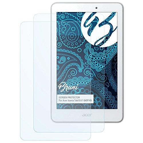 Bruni Schutzfolie für Acer Iconia Tab 8 A1-840FHD Folie, glasklare Displayschutzfolie (2X)
