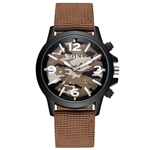 Keepwin Unisex Paar Camouflage Dail Uhr, Mode Nylonband Analog Quarz Runde Wrist Casual Uhr (Color D)