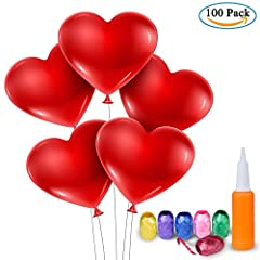 Idea Regalo - Palloncini a Forma di Cuore - Meersee 100 Lattice Palloncini e Pompa e Ribbon Palloncini Cuore Rosso Grande per Matrimoni, Anniversari, San Valentino (cuore)