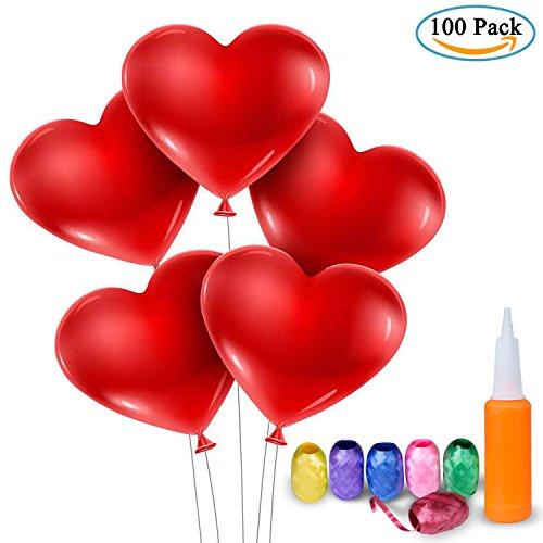 Palloncini a forma di cuore - meersee 100 lattice palloncini e pompa e ribbon palloncini cuore rosso grande per matrimoni, anniversari, san valentino (cuore)