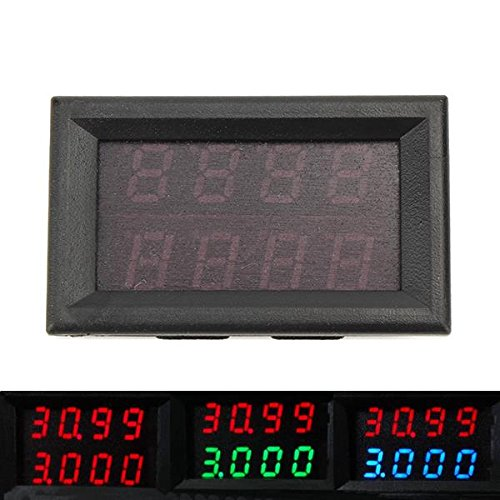 LaDicha Ruideng 0-33V 0-3A Quatre Bit Courant Tension Courant DC Double Numérique LED Affichage Voltmètre Ampèremètre - B