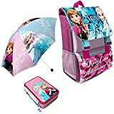 Kit Scuola 3 in 1 School Promo Pack Zaino Estensibile + Astuccio 3 Zip Accessoriato + Ombrello Salvaspazio Disney Frozen Anna e Elsa Edizione Nuova